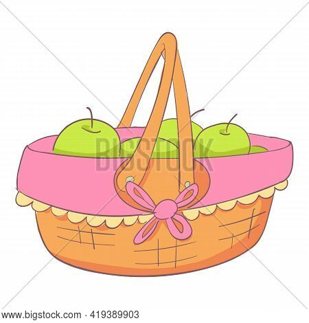 Apples Basket Icon. Cartoon And Flat Of Apples Basket Vector Icon For Web Design Isolated On White B