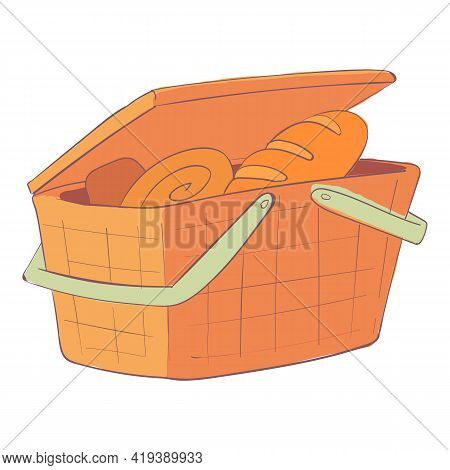 Bakery Basket Icon. Cartoon And Flat Of Bakery Basket Vector Icon For Web Design Isolated On White B