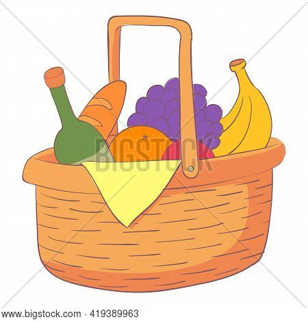 Lunch Hamper Icon. Cartoon And Flat Of Lunch Hamper Vector Icon For Web Design Isolated On White Bac