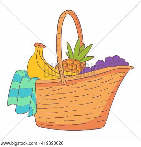 Willow Picnic Hamper Icon. Cartoon And Flat Of Willow Picnic Hamper Vector Icon For Web Design Isola