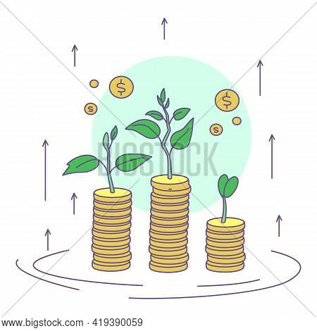 Money Growth Icon. Cartoon And Flat Of Money Growth Vector Icon For Web Design Isolated On White Bac