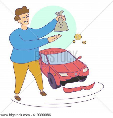 Insurance Car Compensation Icon. Cartoon And Flat Of Insurance Car Compensation Vector Icon For Web