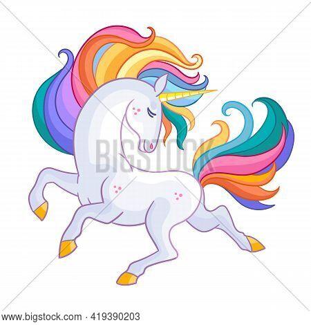 Beatiful Unicorn With Rainbow Mane. Cartoon Character. Vector Illustration Isolated On White Backgro