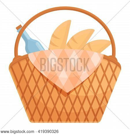 Picnic Basket Icon. Cartoon And Flat Of Picnic Basket Vector Icon For Web Design Isolated On White B