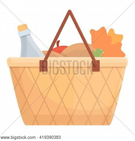 Food Basket Icon. Cartoon And Flat Of Food Basket Vector Icon For Web Design Isolated On White Backg