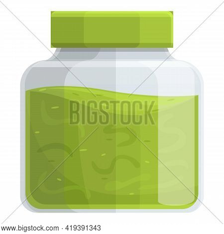 Wasabi Jar Icon. Cartoon And Flat Of Wasabi Jar Vector Icon For Web Design Isolated On White Backgro