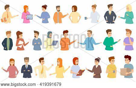 Colleague Icons Set. Cartoon Set Of Colleague Vector Icons For Web Design