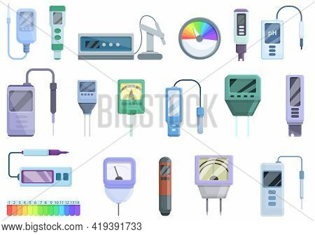 Ph Meter Icons Set. Cartoon Set Of Ph Meter Vector Icons For Web Design