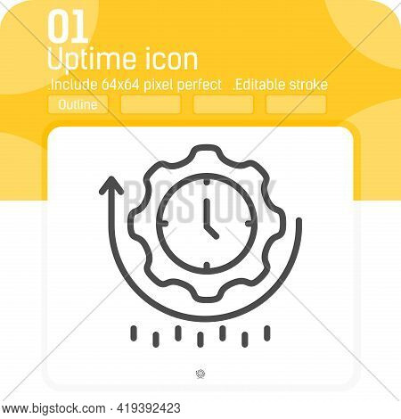 Uptime Icon With Outline Style Isolated On White Background. Vector Illustration Simple Linear Eleme
