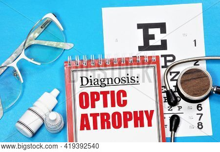 Optic Atrophy. Text Inscription Of The Diagnosis On The Ophthalmologist's Medical Folder. Prevention