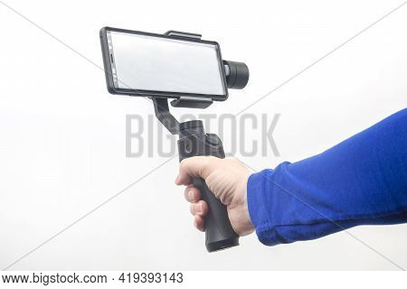 The Smartphone With Stabilizer On White Background