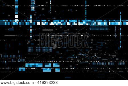 Glitch Techno Background. Data Distortion Effect. Distorted Code With Pixels. Video Signal Error. Co