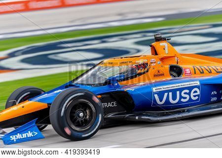 May 01, 2021 - Ft. Worth, Texas, USA: FELIX ROSENQVIST (7) of Varnamo, Sweden practices for the Genesys 300 at the Texas Motor Speedway in Ft. Worth, Texas.