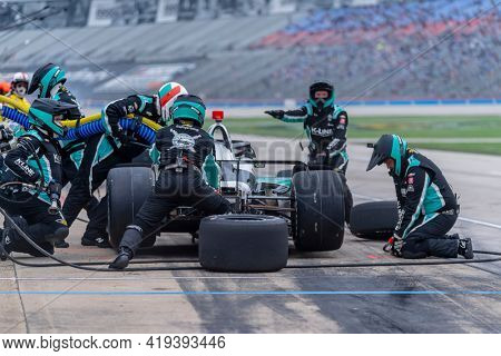 May 01, 2021 - Ft. Worth, Texas, USA: The NTT INDYCAR SERIES teams race for the Genesys 300 at Texas Motor Speedway in Ft. Worth Texas.