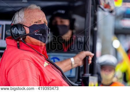 May 01, 2021 - Ft. Worth, Texas, USA: IndyCar Team Owner, AJ Foyt Jr watches as his teams prepare to race for the Genesys 300 at Texas Motor Speedway in Ft. Worth, Texas.