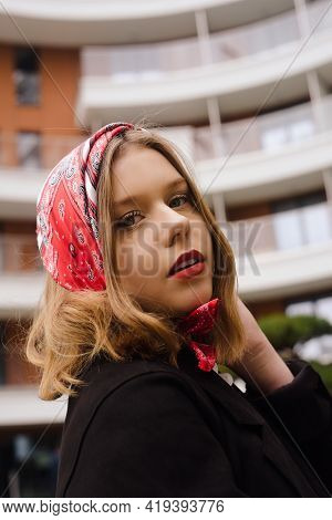 Portrait Of An Incredibly Beautiful Girl With Blue Eyes. Fashionable Photo. Trendy Style In Clothes,