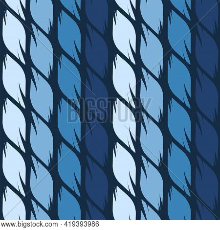 Seamless Pattern Of Four Shades Of Blue Graphic Leaves.