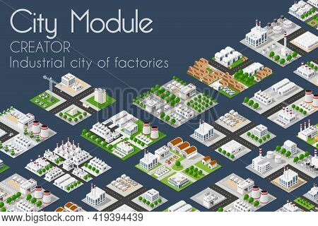 City Module Plant Factory Industrial Creator Isometric Concept