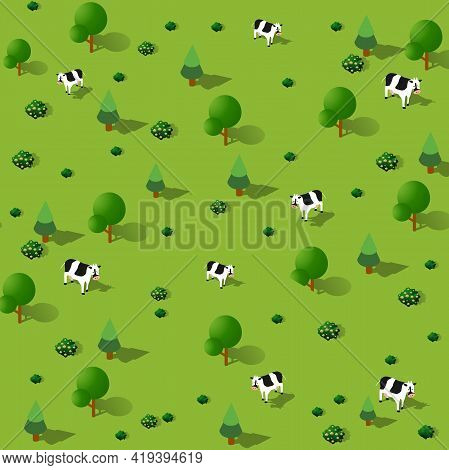 Garden Cow Park Isometric Forestry Landscape Green View Projection