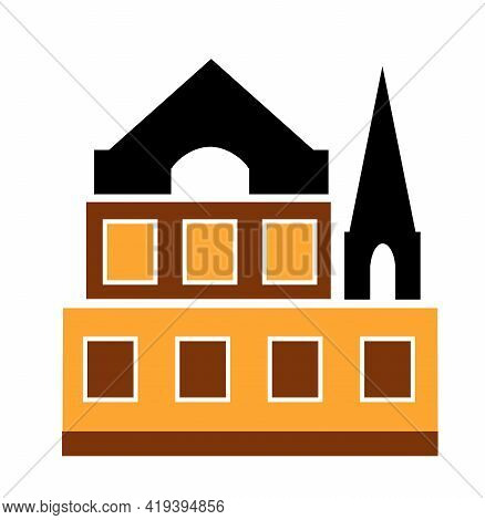 Christian Catholic Church Building Flat Color Single House Construction