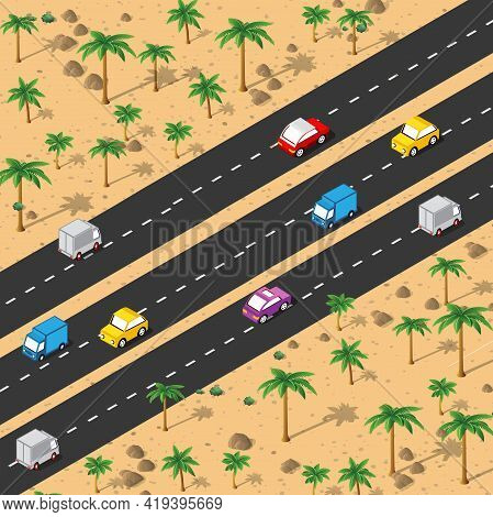Desert Highway Isometric Urban Area Of The City Infrastructure