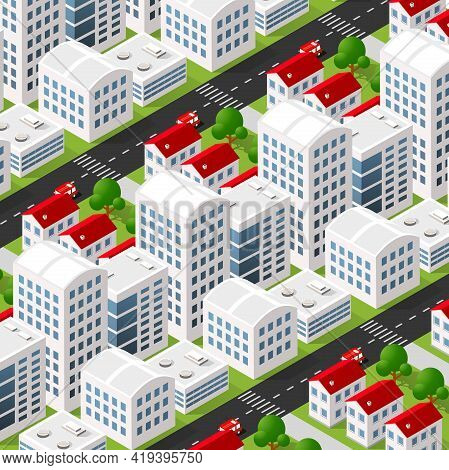 Isometric 3d Downtown City Block District Part Of The City