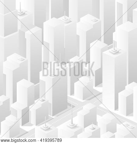 City White Bleached Isometric Map, Consisting Of Skyscrapers