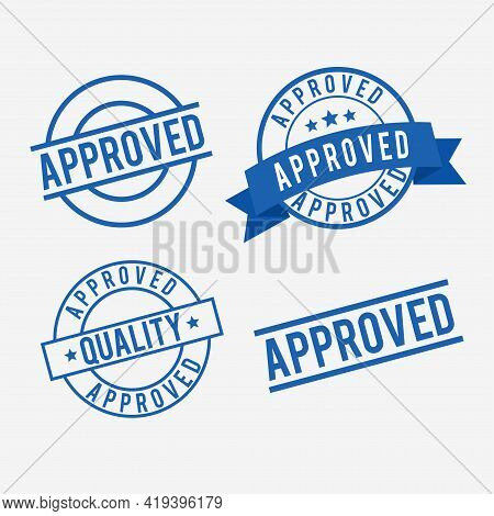 Collection Of Approved Stamp Mark. Suitable For Document Approval Icon And Illustration. Simple Perm