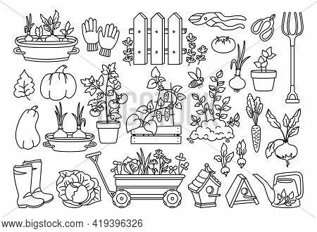 Garden Black Line Cartoon Set. Vegetables Growing Soil In Pot, Rustic Fence. Rubber Boots, Pitchfork