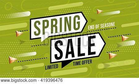 Spring Sale With Limited Offer In Time To End Of Season. Banner Template With Of Season Commerce Mes