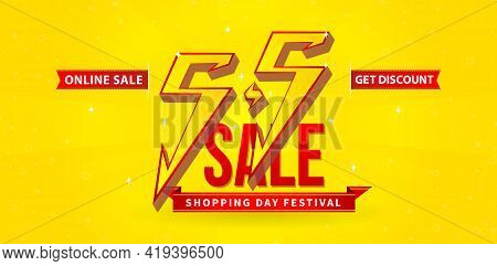5.5 Sale, 5.5 Online Sale, Flash Model Shopping Day Festival Calendar Number Date Yellow Background