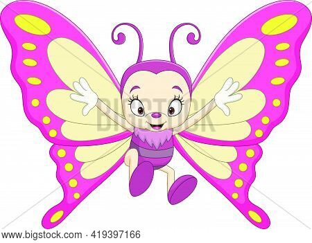 Vector Illustration Of Cartoon Funny Butterfly On White Background