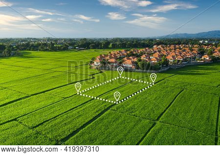 Land Plot In Aerial View. Identify Registration Symbol Of Vacant Area For Map. That Property, Real E