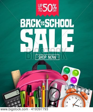 Back To School Sale Vector Banner Design. Back To School Promotion Text With 50% Off Educational Sup