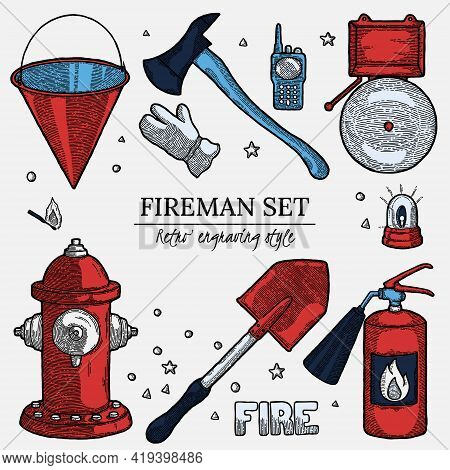 Firefighting Vintage Elements Background In Vintage Style With Empty Copyspace. Label With Design Te