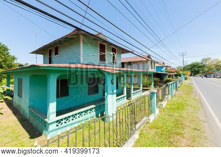 Panama, Armuelles Town, April 27, Typical Two-storey Houses At The Entrance To The Town. Shoot On Ap