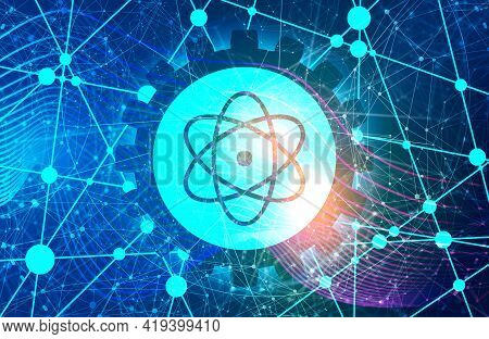 Pictograph Of Atom. Lines With Dots Connected Backdrop