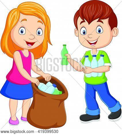 Vector Illustration Of Cartoon Kids Gathering Plastic Bottles Into Garbage Bag