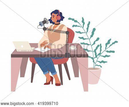 Woman Dj In Headphones Creating Podcast, Hosting Radio Show In Studio, Vector Illustration. Podcasti