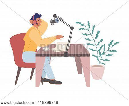 Young Man Dj In Headphones Creating Podcast, Hosting Radio Show In Studio, Vector Illustration. Podc