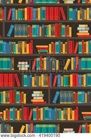 Colorful Bookshelves Design For Bookstore Ereader Library App Symbol Or Home Decoration Poster Print