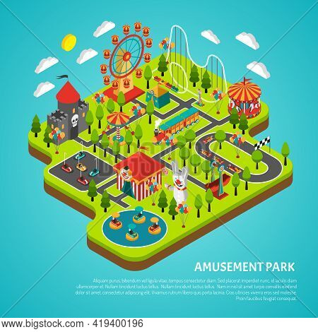 Amusement Park Fairground With Big Ferris Observation Wheel And Bumper Cars Attractions Isometric Co