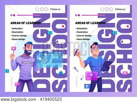Design School Posters With Cartoon Man Designer With Graphic Tablet. Business Education In Creative