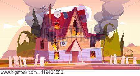 House On Fire, Home Burn With Flame And Clouds Of Black Smoke. Concept Of Disaster, Accident, Danger