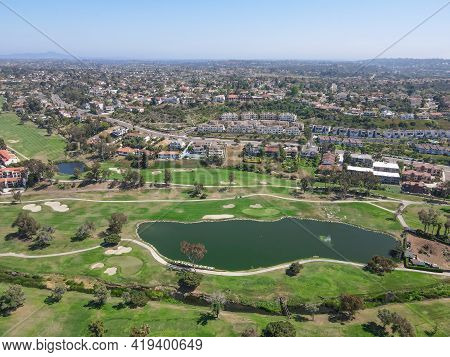 Aerial View Of Golf Surrounded By Villas And Condos With Golf In Carlsbad, North County San Diego, C