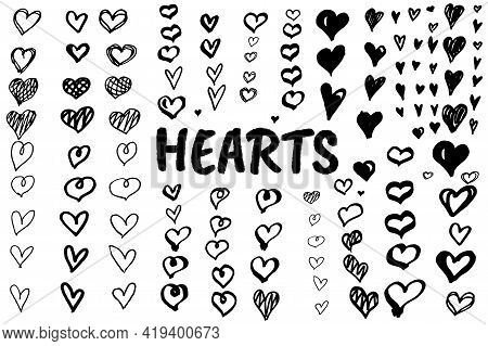 Doodle Hearts, Hand Drawn Love Heart Collection. Hand Drawn Abstract Illustration Grunge Elements. V