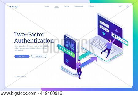 Two-factor Authentication Banner. Concept Of Verification Identity By Password And Security Code In