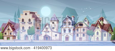 Medieval German Street With Half-timbered Houses In White Fog. Traditional European Buildings In Old