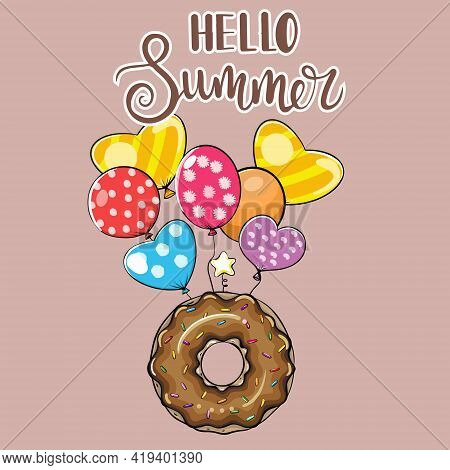 Donut Glazed With Copy Space On Pastel Background. Donut With Sweet Sugar Icing. Promo Poster Made O