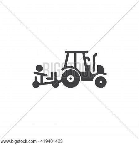 Farm Tractor Vector Icon. Filled Flat Sign For Mobile Concept And Web Design. Harvester Tractor Glyp